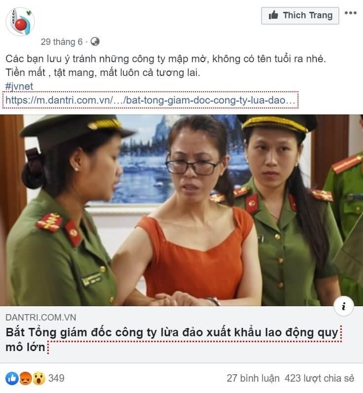 Một mẩu tin lừa đảo lao động xuất khẩu trên facebook
